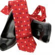 Stock Photo: Women's shoes and tie