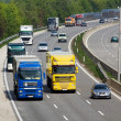 Highway with cars and trucks — Stock Photo