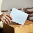 Woman in voting booth — Stock Photo