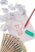 Incidenza e idee con lampadina. simbolo su un disegno. — Foto Stock