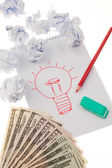 Incidência e idéias com lâmpada. símbolo em um desenho. — Foto Stock