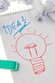 発生率と電球とのアイデア。英語 — ストック写真