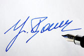 Signature on a letter — Stock Photo