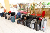 Luggage and suitcase of a tour group — Stock Photo