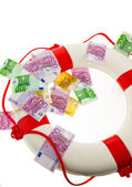 Lifebuoy and €. salvation for greece. — Stock Photo