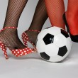 Sexy soccer woman with ball — Stock Photo