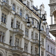 Prague, beautifully renovated houses n the old tow — Photo