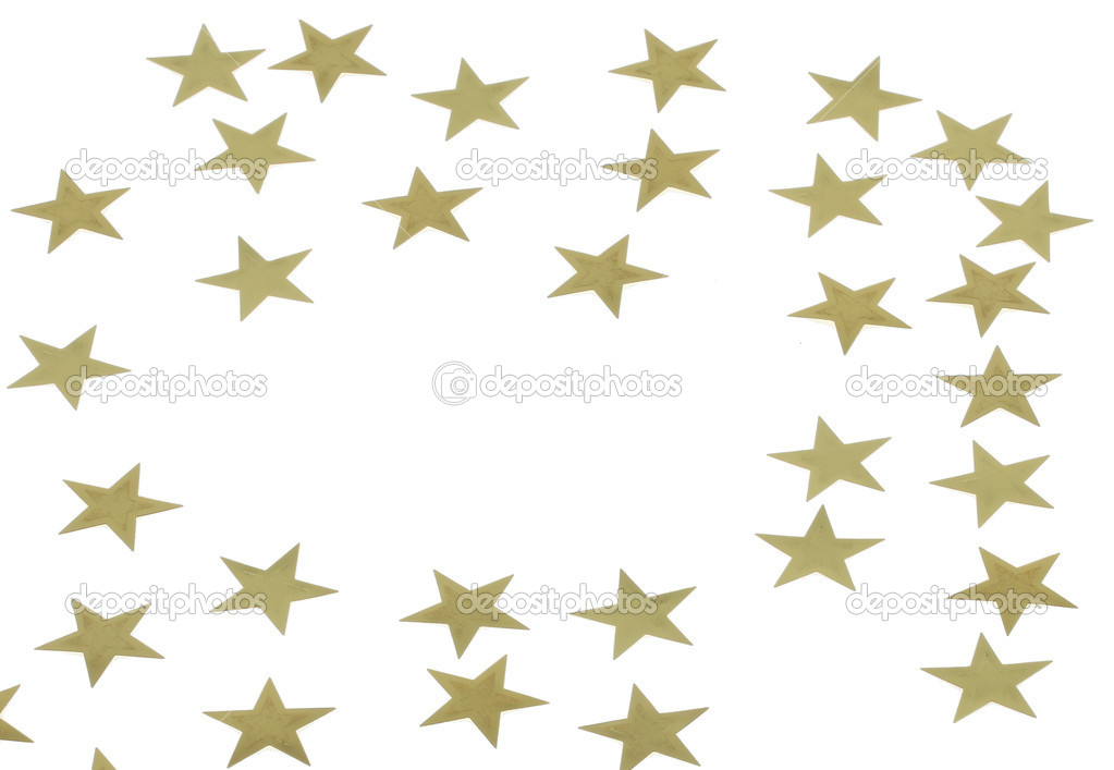 Christmas decoration of golden confetti stars — Stock Photo #8315264
