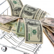 U.s. dollars bills in a shopping cart — Stock Photo