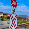 Stock Photo: Railroad crossing without barriers
