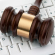Gavel and keyboard. legal certainty on the interne — Stock Photo
