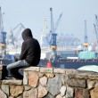 Stock Photo: Unemployed in port of hamburg in germany