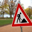 Sign and traffic sign at construction site - Stockfoto