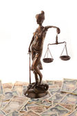 Justice and the yen. symbol for legal costs — Stock Photo