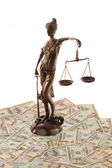 Justice and the dollar. symbol for legal costs. — Stock Photo