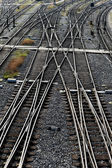 Railroad tracks with switches — Stok fotoğraf
