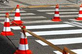 Schutzweg a road is re-marked — Stock Photo