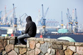 Unemployed in the port of hamburg in germany — Stock Photo