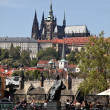Prague, charles bridge with prague castle and hrad - Stock Photo