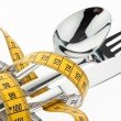 Cutlery with tape. symbol diet. - Stock Photo