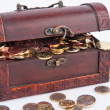 Stock Photo: Treasure chest with coins €