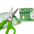 Euro banknotes and scissors — Stock Photo #8331415