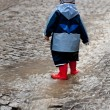 Child has fun with rainwear in rain — Stock Photo #8336077
