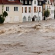 High water and flooding in steyr, austria — Stock Photo #8336090