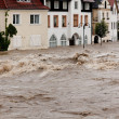 Stock Photo: High water and flooding in steyr, austria