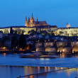 Prague, charles bridge and prague castle hradcany at na — Stock Photo