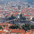 Prague, city view from the lookout tower on karlsbrü — Stock Photo
