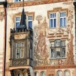 Prague, old town square, stork house - Stock Photo