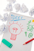 Incidencia e ideas con la bombilla. símbolo de una d — Foto de Stock