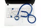 Stethoscope on laptop. data security on the intern — Stock Photo