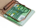 Mousetrap with € bills. debt trap — Foto Stock
