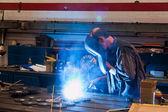 Welders in the workshop in the metal industry — Stock Photo