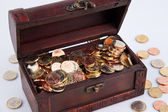 Treasure chest with coins € — Stock Photo