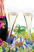 Champagne bottle and glasses in celebration of the — Stock Photo