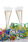 Grasses with a champagne celebration at the carniv — Stock Photo