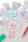 Incidência e idéias com lâmpada. símbolo em um d — Foto Stock