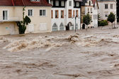 High water and flooding in steyr, austria — Stock Photo