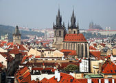 Prague, city and skyline view from the powder towe — Stock Photo
