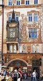 Prague, old town square, stork house — Stock Photo