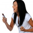 Young woman has fun with SMS message — Stock Photo #8340667