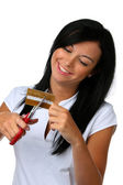 Young woman with credit card — Stock Photo
