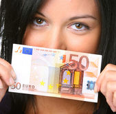 Teenager with 50 EUR bill — Stock Photo