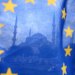 Turkey, Istanbul and european flag - Stock Photo