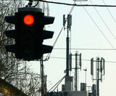 Red color on the traffic light — Stock Photo