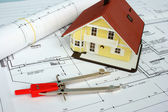 Drawing and designing tools in building — Stock Photo