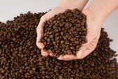 Hand with coffee beans — Stock Photo